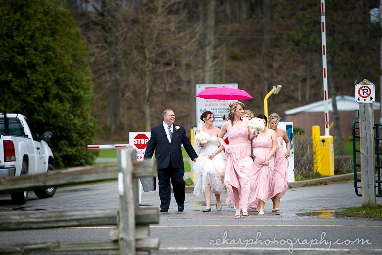 bride making her way to wedding chapel