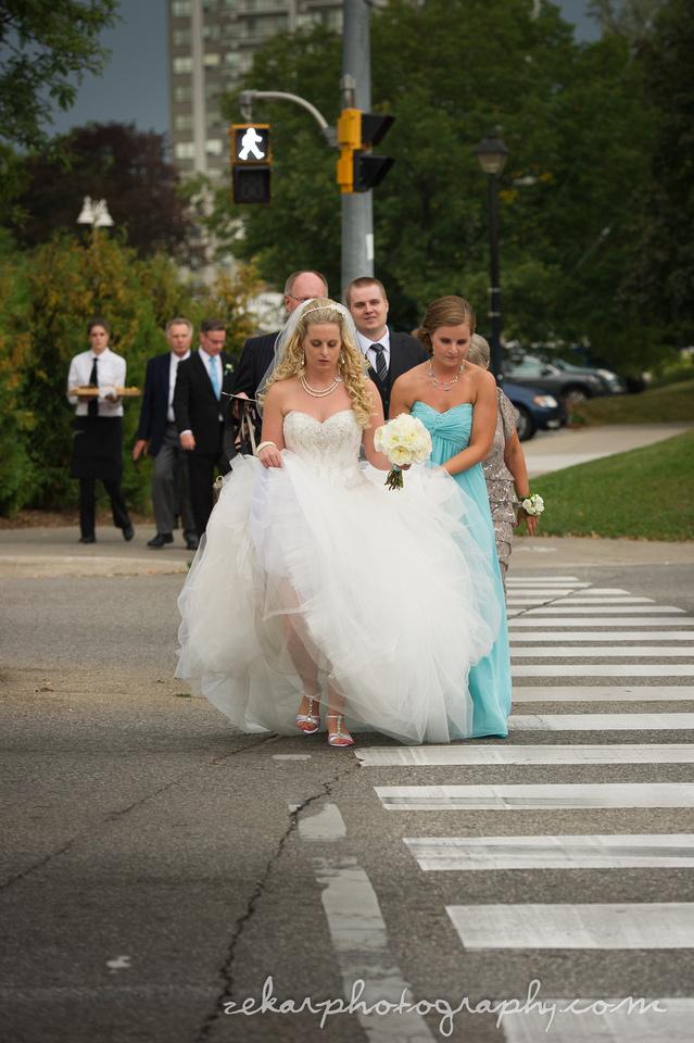 bride walking across street