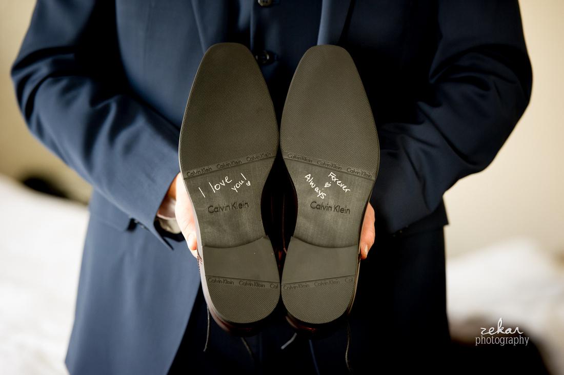 wedding writing on bottom of shoes