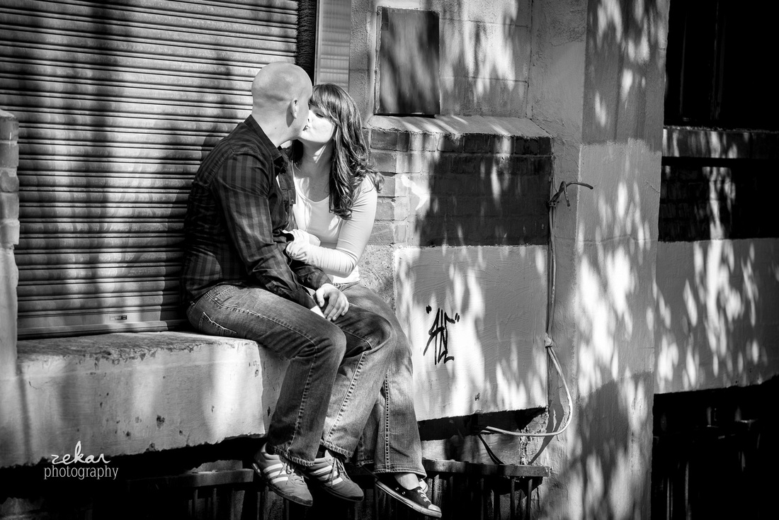 couple kissing on docking bay