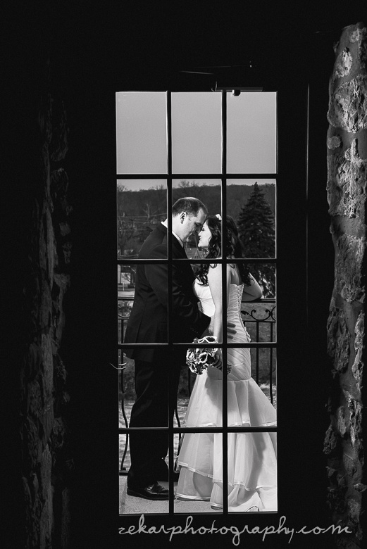 artistic black and white of bride and groom