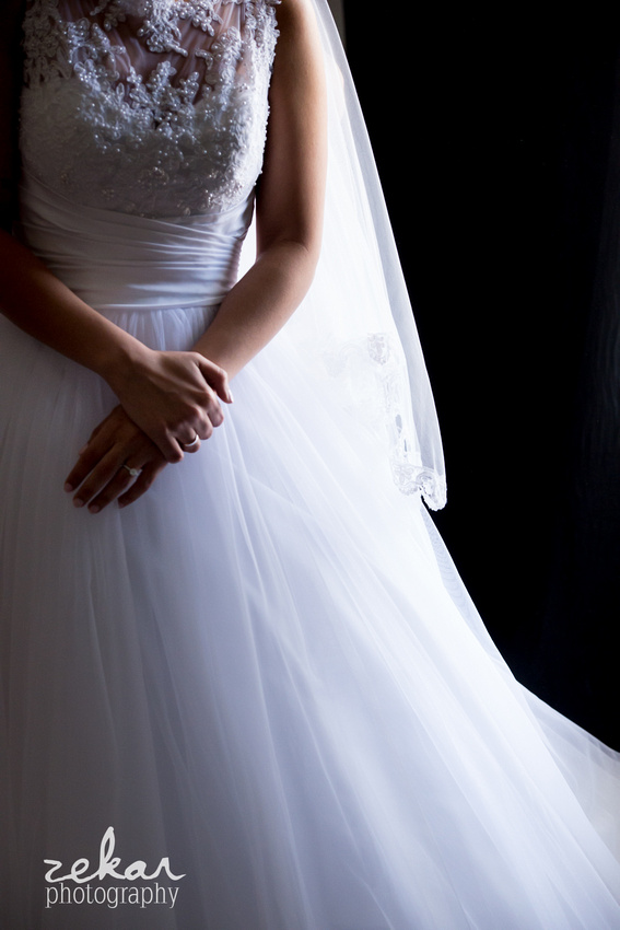 bridal dress with beaded neckline