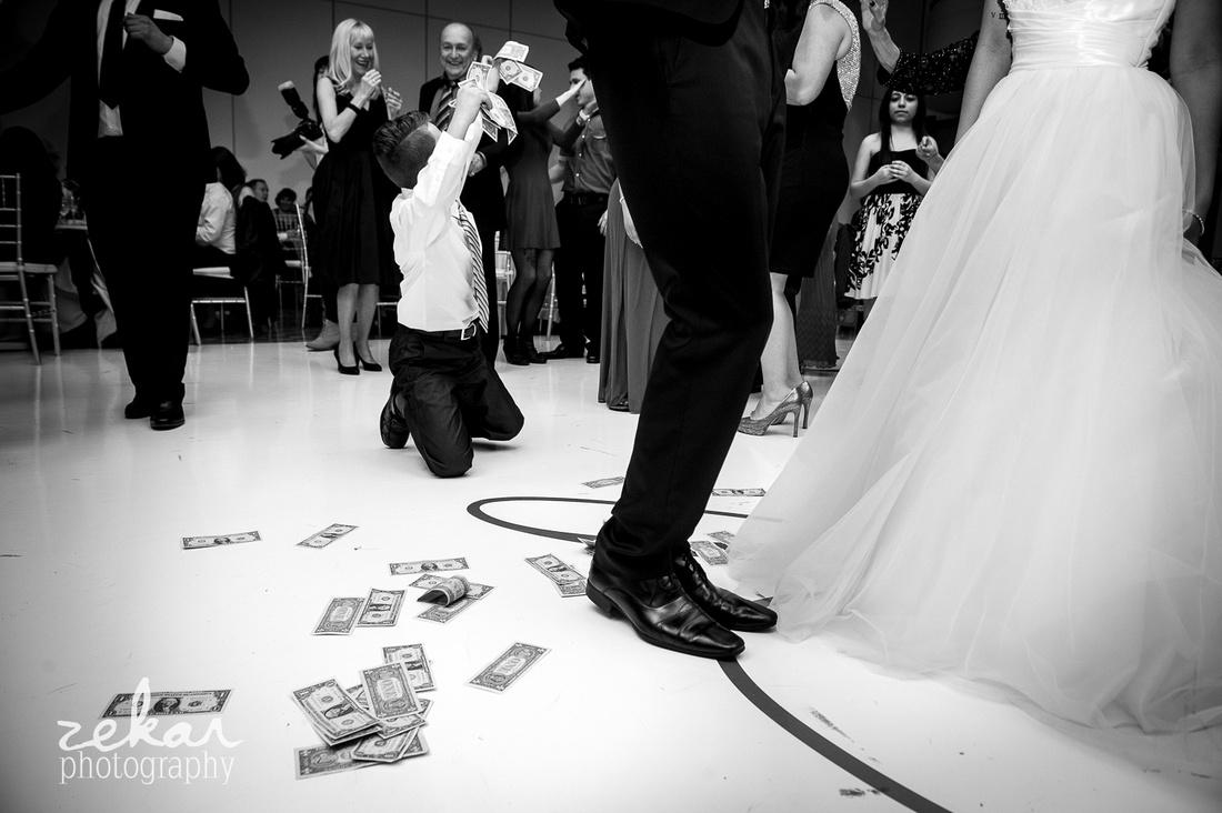 crowd dancing at wedding reception