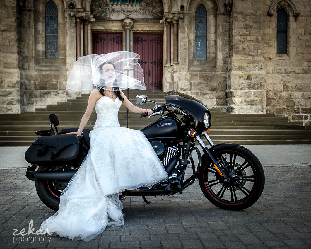 bride on motorcycle outside of church