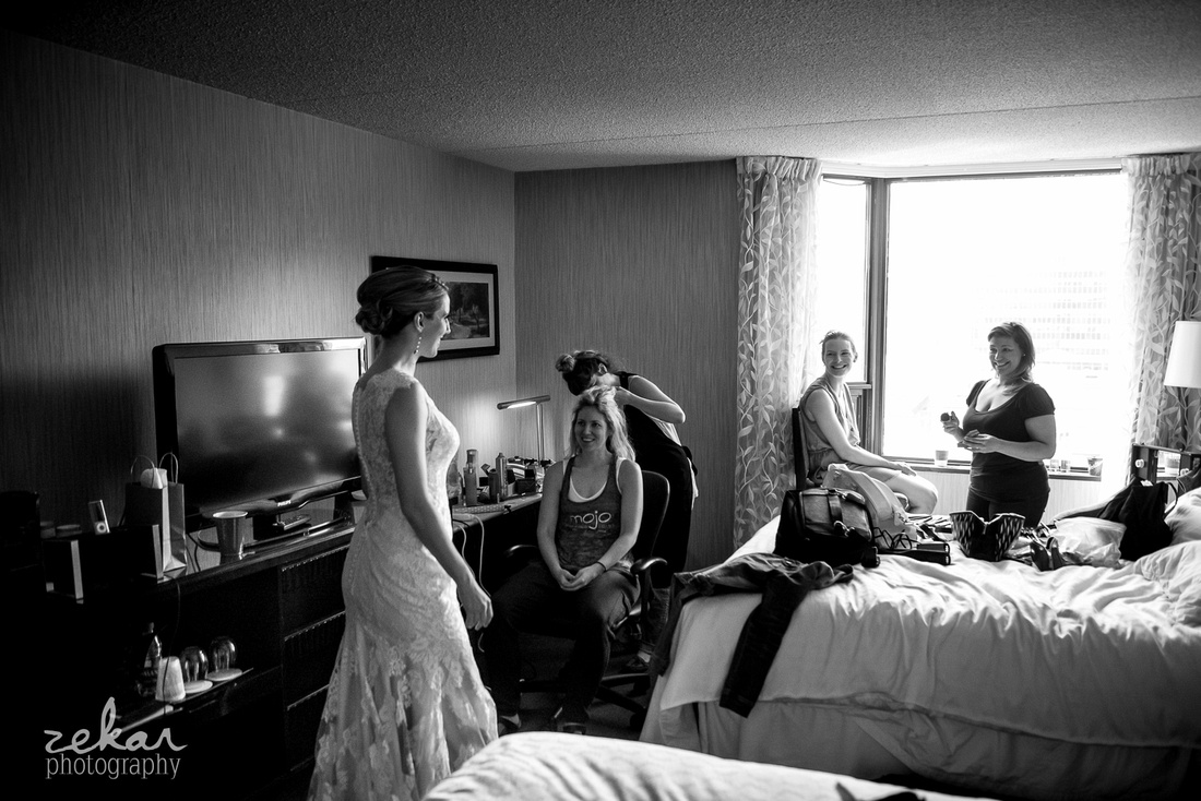 bridal party seeing bride for first time