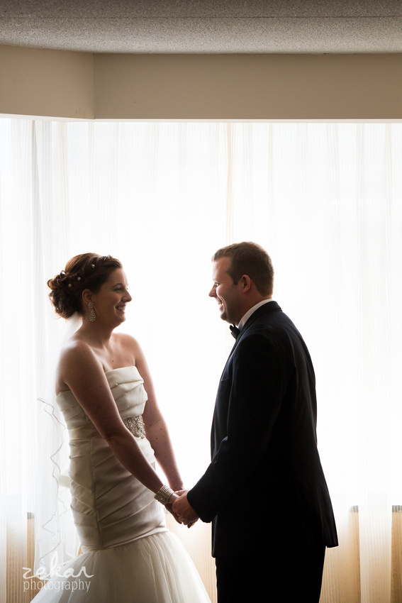 bride and groom seeing eachother for the first time