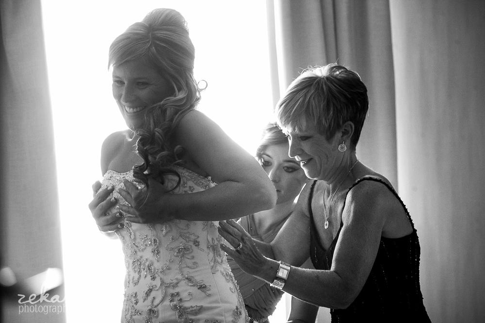 bride getting ready on wedding day