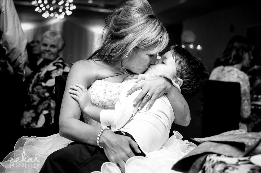bride kissing son