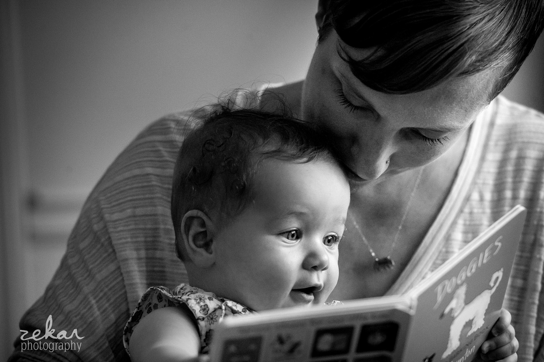 black and white photo of mom and baby