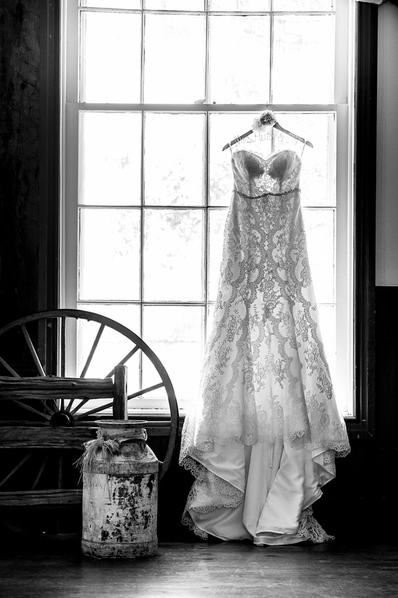 bridal gown in window