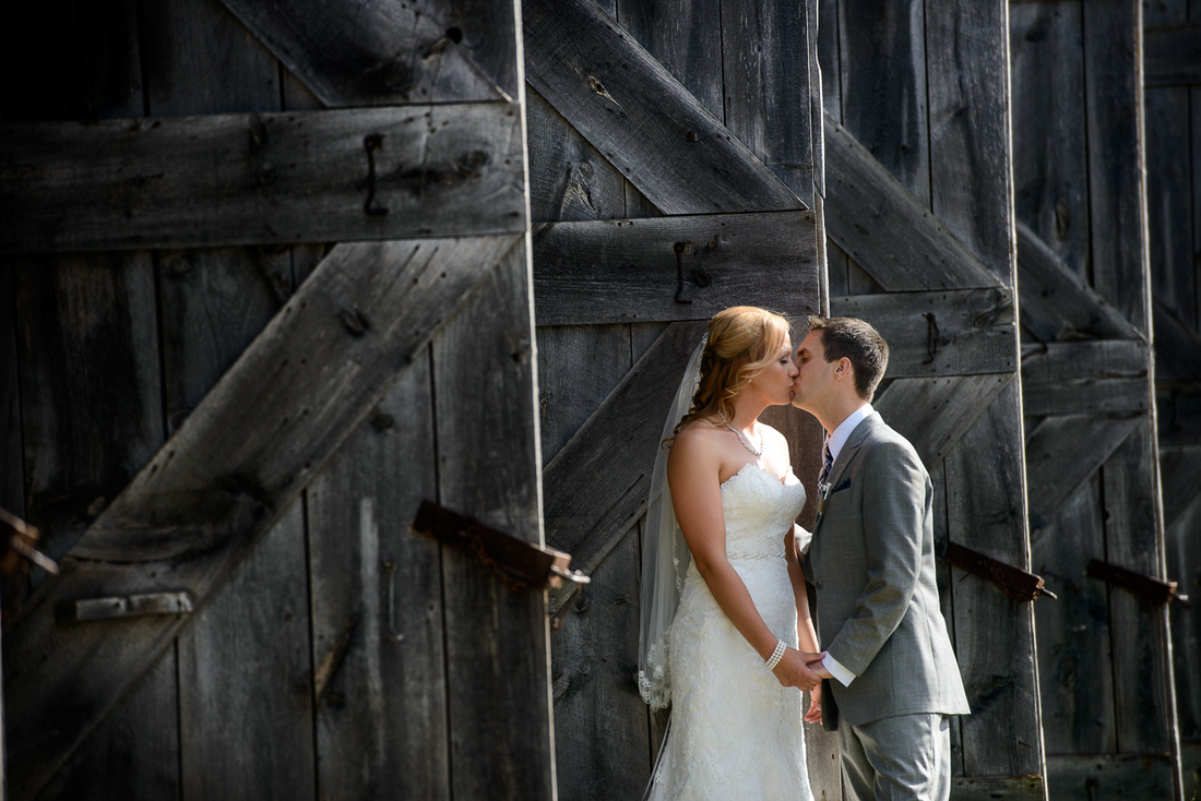 bridal portrait near barn doors