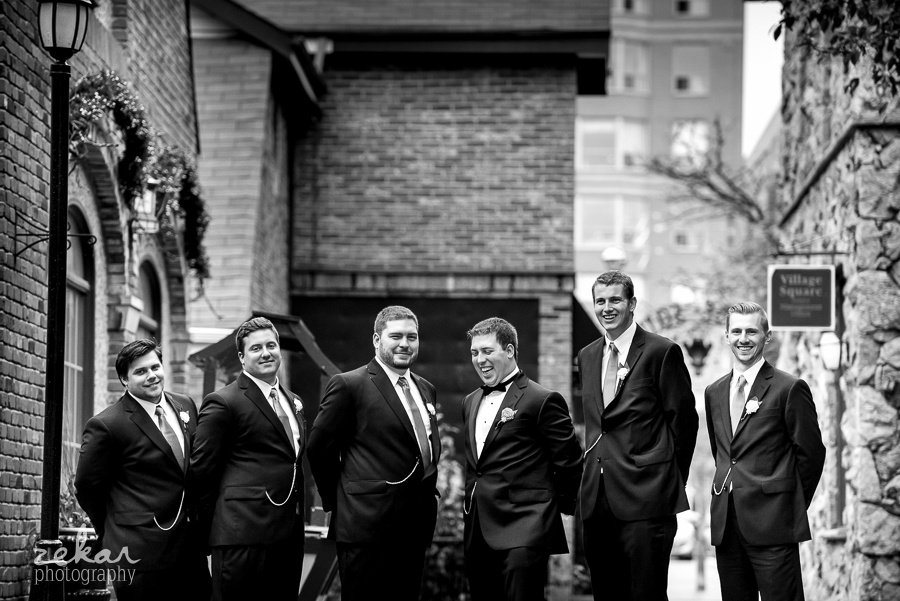 groomsmen at village square