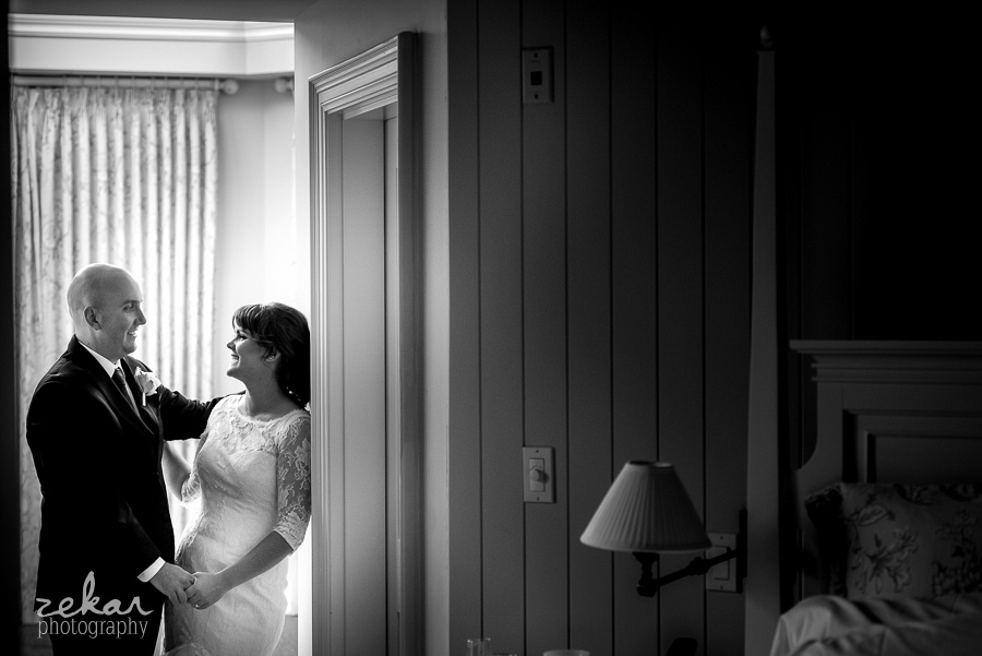 bride and groom in bedroom