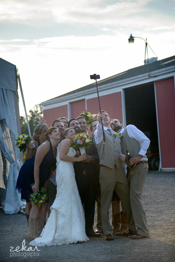 bridal party selfie stick