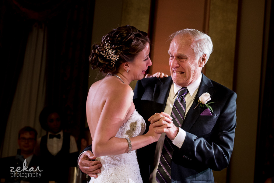 bride and grandfather crying dancing