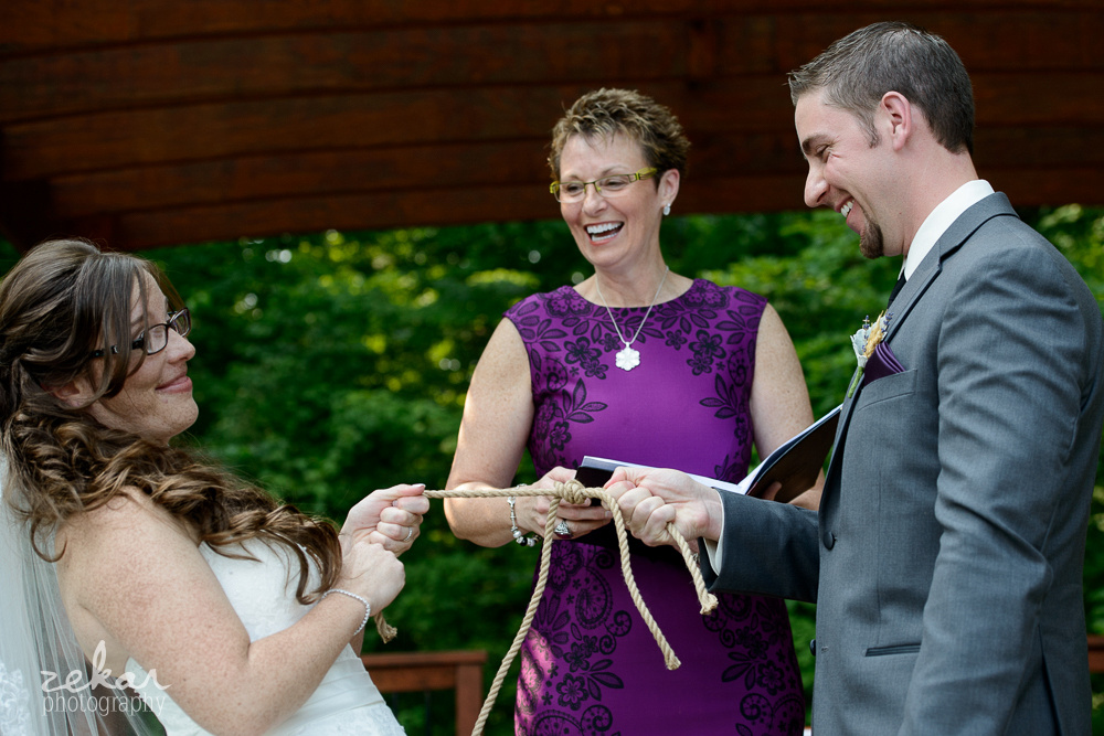 bride joking about knot tying ceremony