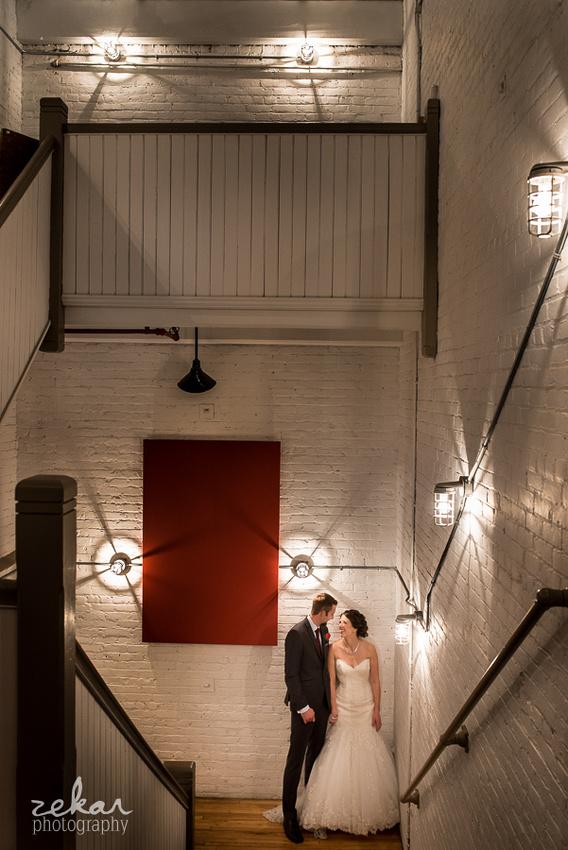 wedding in stairwell