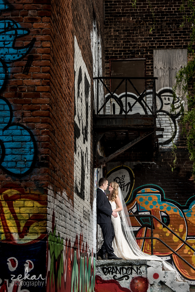 bride and groom graffiti