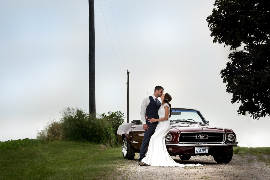 bride and groom mustang