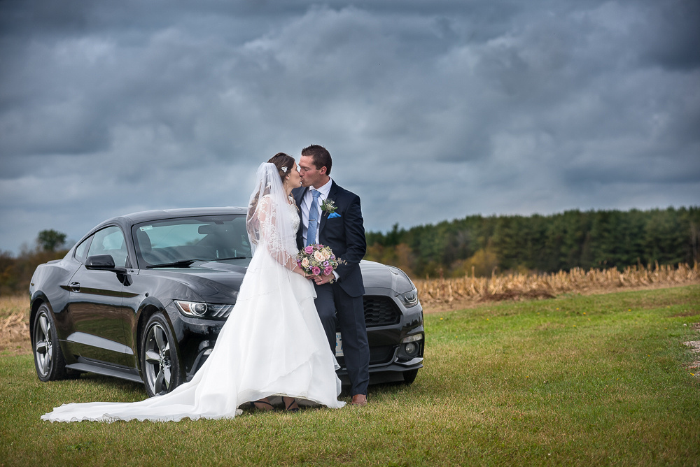 bridal portrait with Ford Mustang