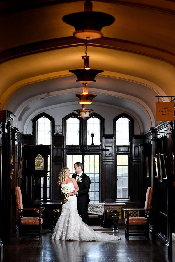 bridal portrait in castle
