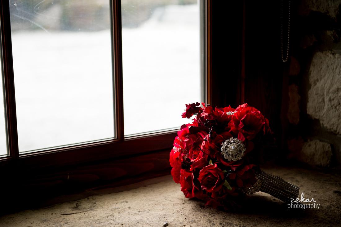 dark red bridal bouquet rhinestone accents