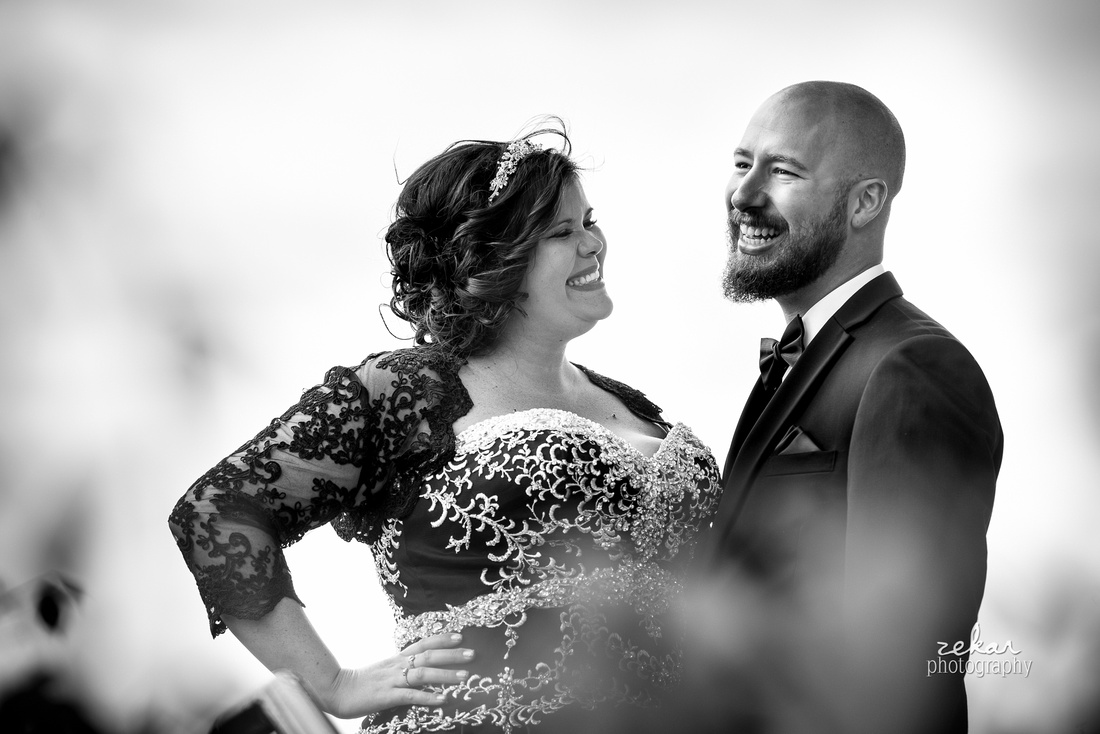 black and white photo bride and groom