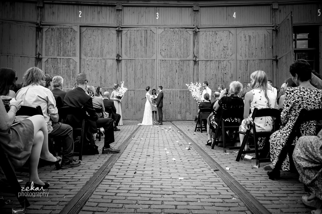 wedding ceremony at steamwhistle brewery
