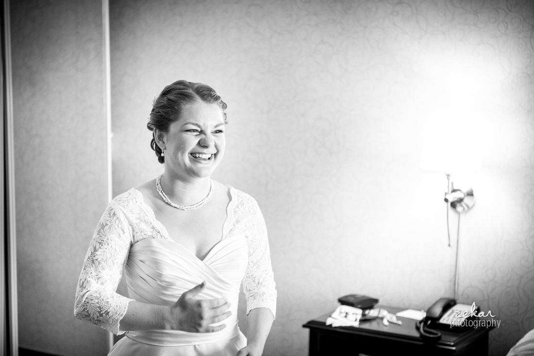 happy bride laughing