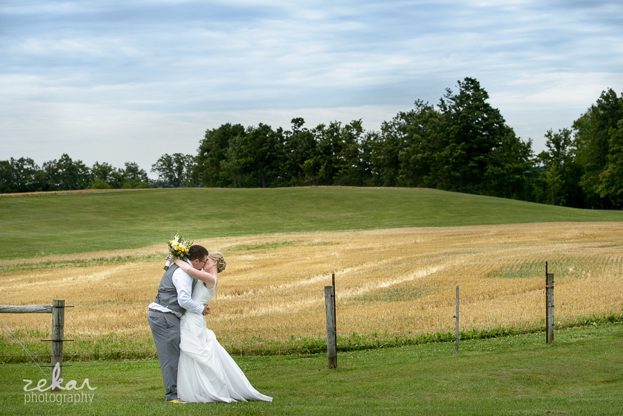 couple kissing in wheat field