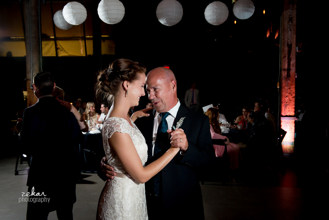 bride dancing with father wedding reception