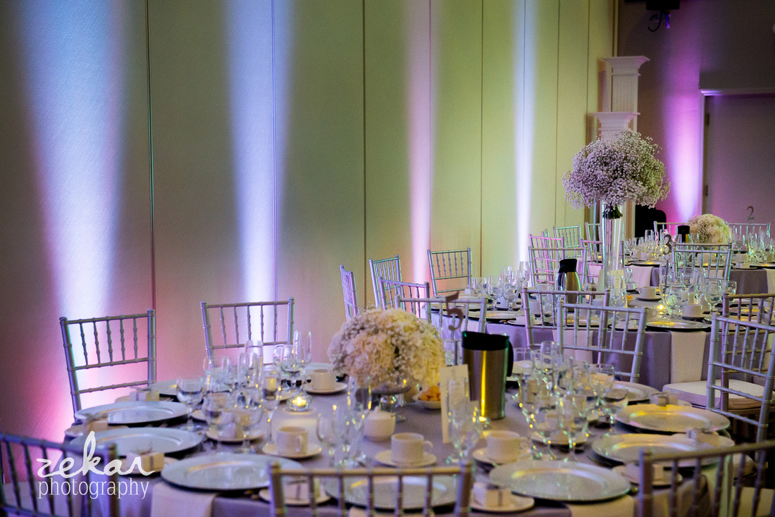 silver and purple wedding theme