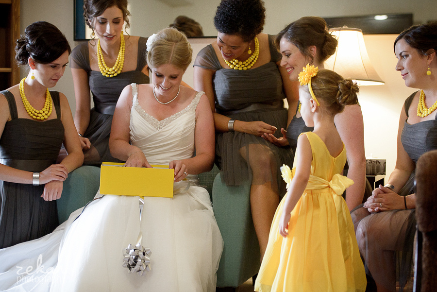 bride opening bridesmaids gift