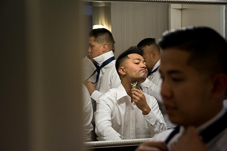 groomsmen shaving