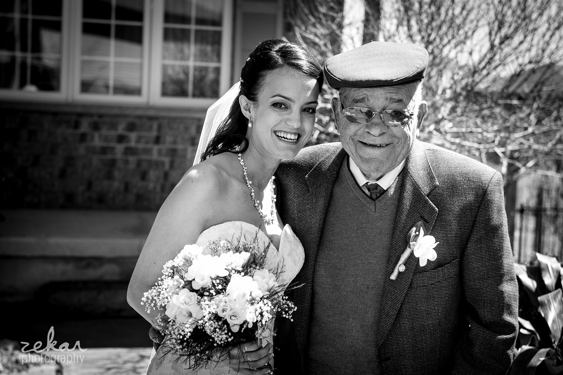 bride and grandfather