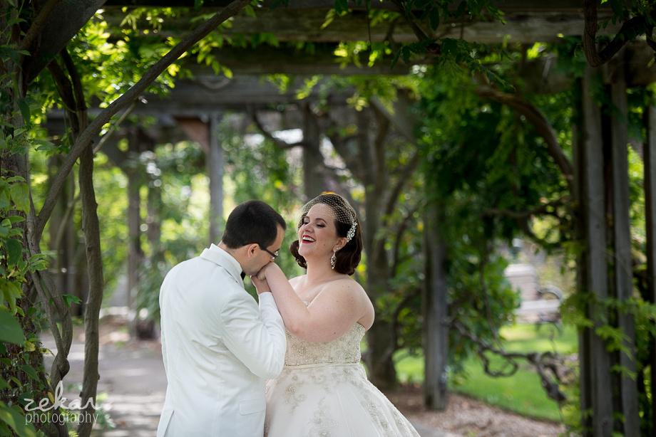 groom flirting with bride