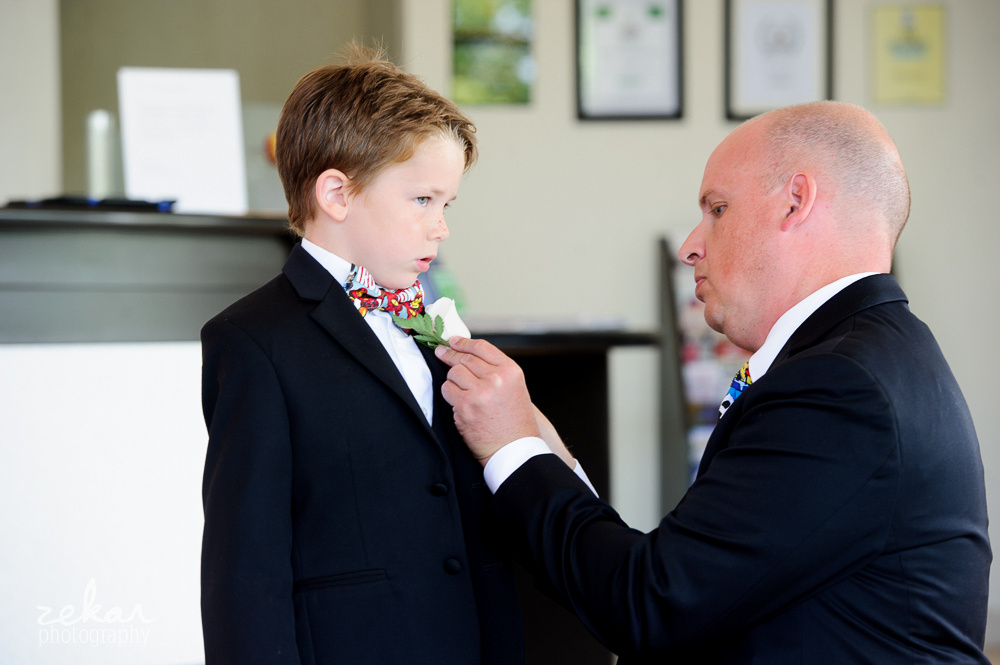 groom getting son ready